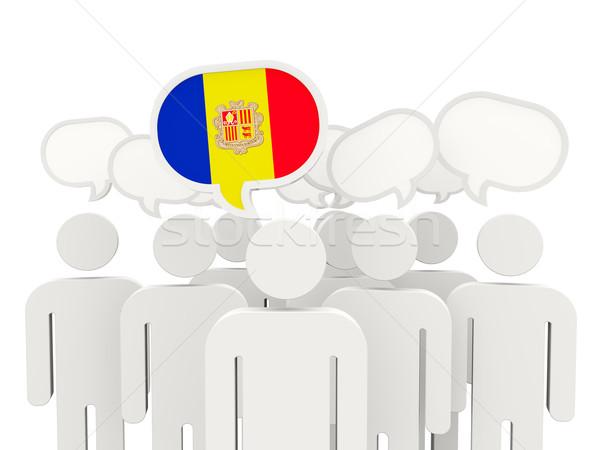 Stockfoto: Mensen · vlag · Andorra · geïsoleerd · witte · vergadering