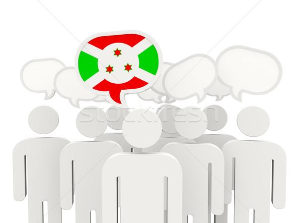Pessoas bandeira Burundi isolado branco reunião Foto stock © MikhailMishchenko