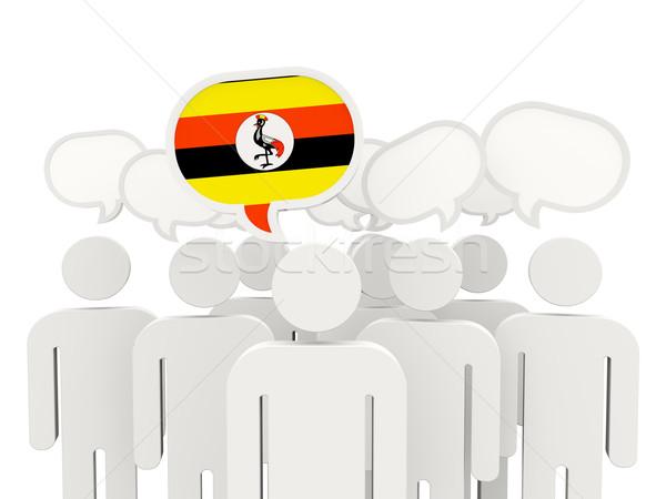 Personas bandera Uganda aislado blanco reunión Foto stock © MikhailMishchenko