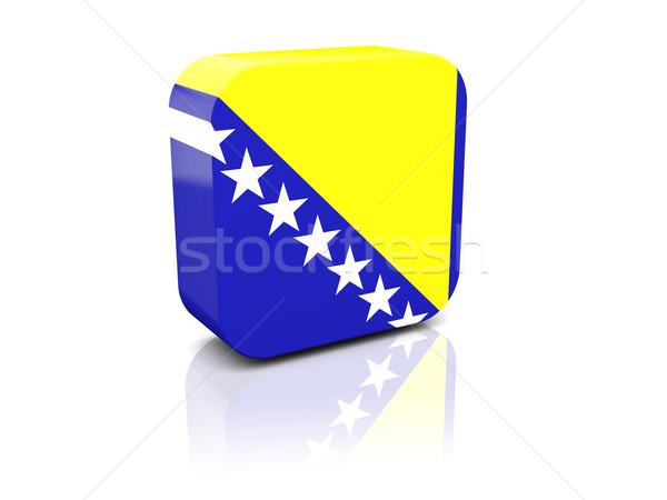 Praça ícone bandeira Bósnia-Herzegovina reflexão branco Foto stock © MikhailMishchenko