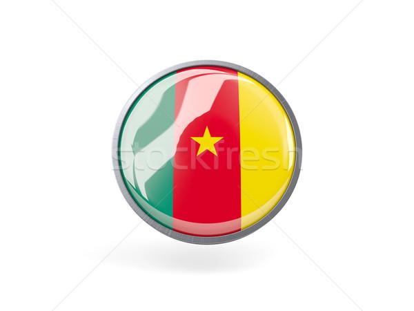 Icon vlag Kameroen metaal frame reizen Stockfoto © MikhailMishchenko