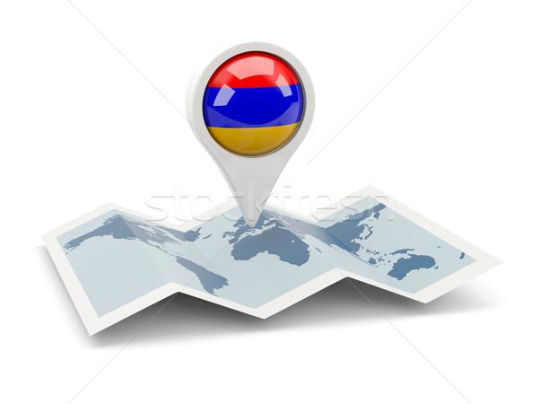 Pin bandeira Armênia mapa viajar branco Foto stock © MikhailMishchenko