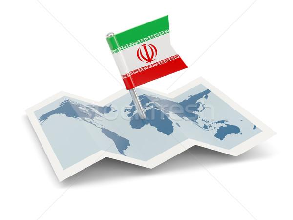 Mapa bandeira Irã isolado branco Foto stock © MikhailMishchenko