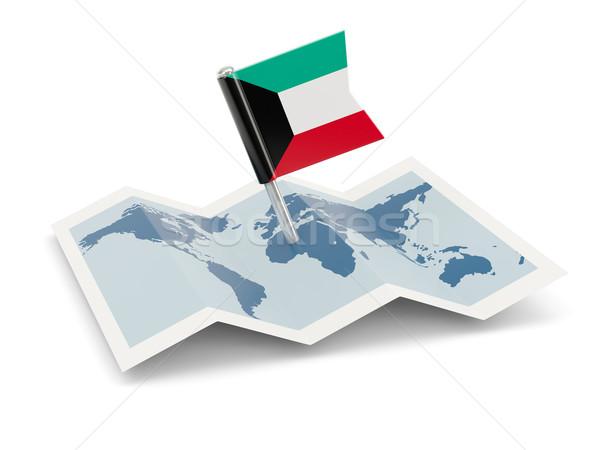 Kaart vlag Koeweit geïsoleerd witte Stockfoto © MikhailMishchenko