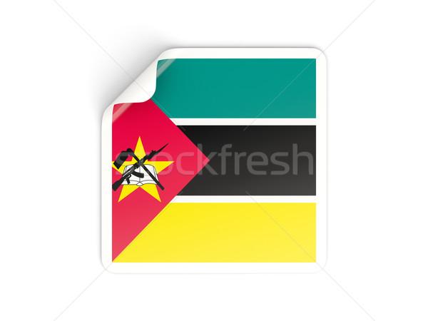 Praça adesivo bandeira Moçambique isolado branco Foto stock © MikhailMishchenko