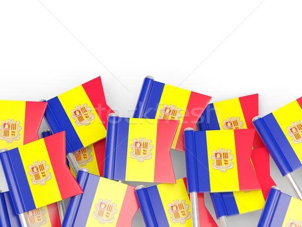 Stockfoto: Vlag · pin · Andorra · geïsoleerd · witte · achtergrond