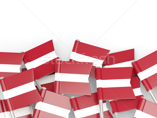 Bandera pin Letonia aislado blanco mundo Foto stock © MikhailMishchenko
