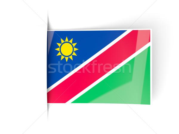 квадратный Label флаг Намибия изолированный белый Сток-фото © MikhailMishchenko