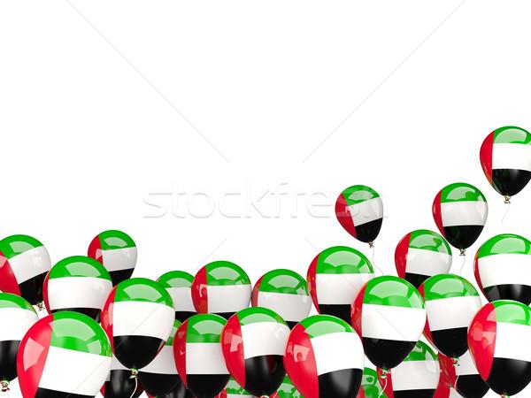 Voador balões bandeira Emirados Árabes Unidos isolado branco Foto stock © MikhailMishchenko
