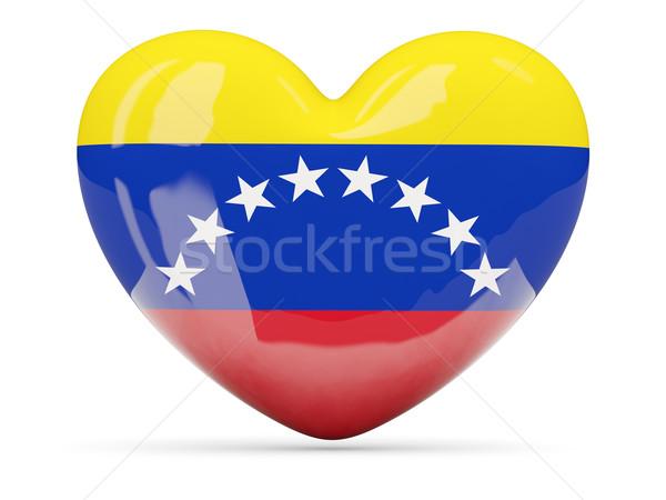 Heart shaped icon with flag of venezuela Stock photo © MikhailMishchenko