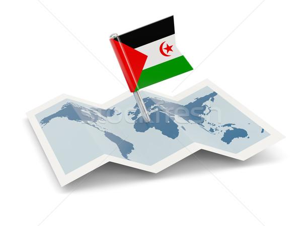 Kaart vlag westerse sahara geïsoleerd witte Stockfoto © MikhailMishchenko
