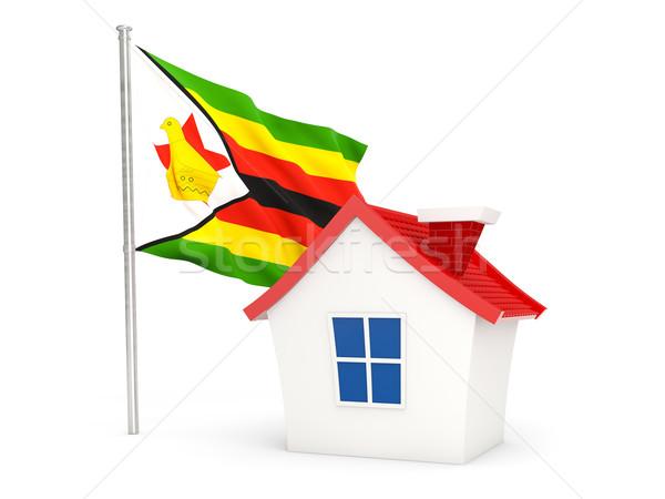 Ház zászló Zimbabwe izolált fehér otthon Stock fotó © MikhailMishchenko