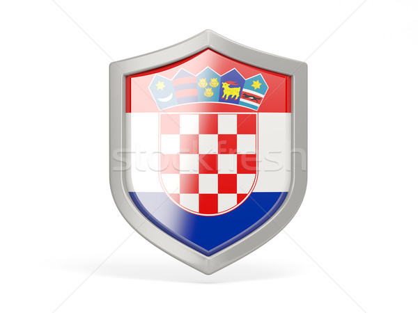 Stock photo: Shield icon with flag of croatia