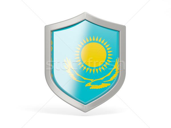 щит икона флаг Казахстан изолированный белый Сток-фото © MikhailMishchenko