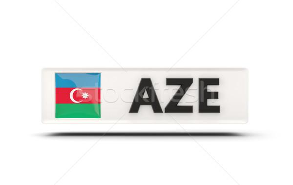 Placu ikona banderą Azerbejdżan iso kodu Zdjęcia stock © MikhailMishchenko