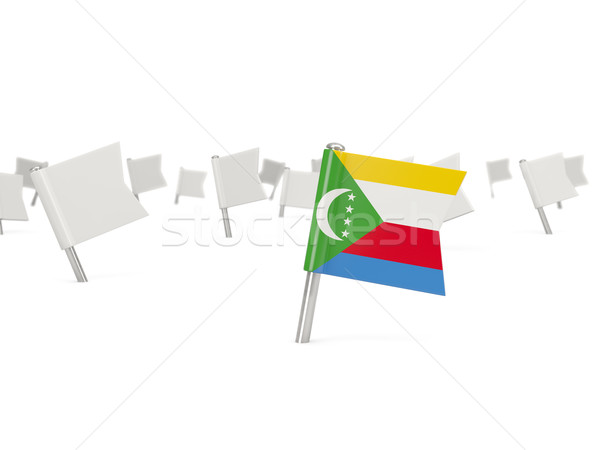 Square pin with flag of comoros Stock photo © MikhailMishchenko