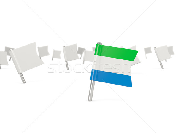 Square pin with flag of sierra leone Stock photo © MikhailMishchenko