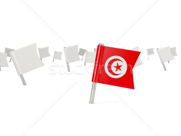 Square pin with flag of tunisia Stock photo © MikhailMishchenko