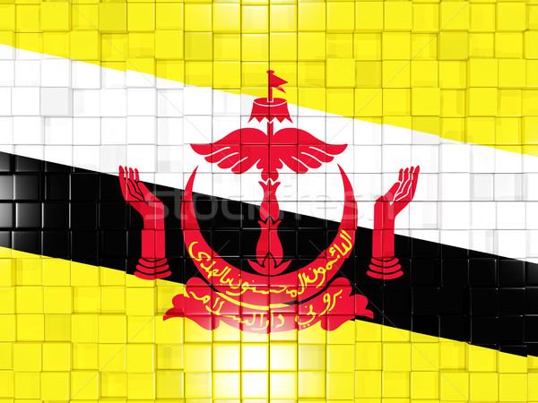 Vierkante onderdelen vlag Brunei 3d illustration mozaiek Stockfoto © MikhailMishchenko