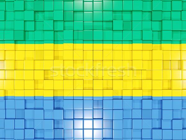 квадратный флаг Габон 3d иллюстрации мозаика Сток-фото © MikhailMishchenko