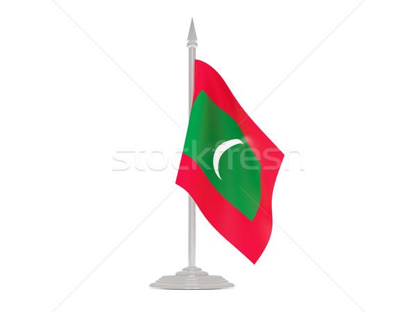 Bandera Maldivas asta de bandera 3d aislado blanco Foto stock © MikhailMishchenko
