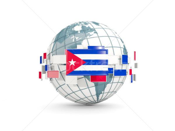 Globe with flag of cuba isolated on white Stock photo © MikhailMishchenko