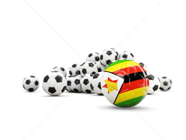 Football with flag of zimbabwe isolated on white Stock photo © MikhailMishchenko