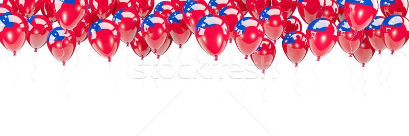 Balões quadro bandeira Samoa isolado branco Foto stock © MikhailMishchenko