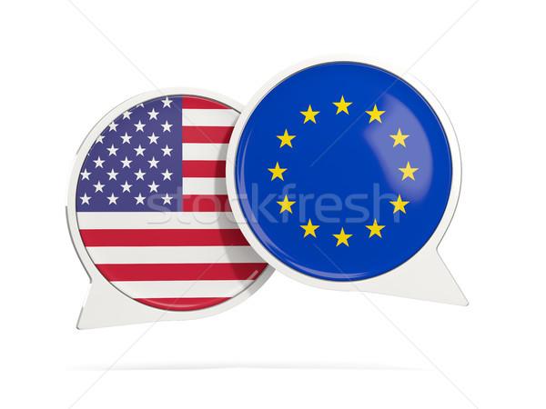 Chat pęcherzyki USA eu odizolowany biały Zdjęcia stock © MikhailMishchenko