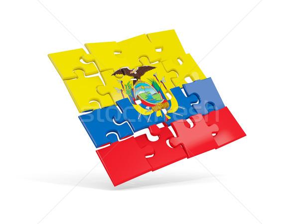 Puzzle flag of ecuador isolated on white Stock photo © MikhailMishchenko