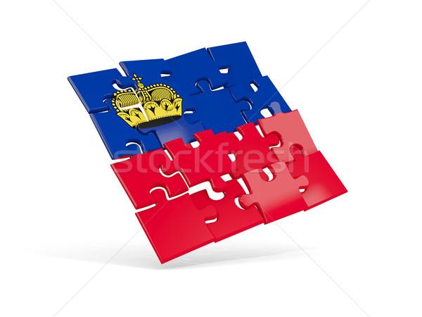 Puzzle bandiera Liechtenstein isolato bianco illustrazione 3d Foto d'archivio © MikhailMishchenko