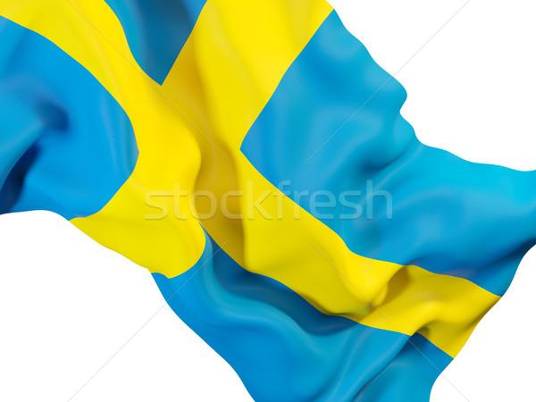 Integet zászló Svédország közelkép 3d illusztráció utazás Stock fotó © MikhailMishchenko