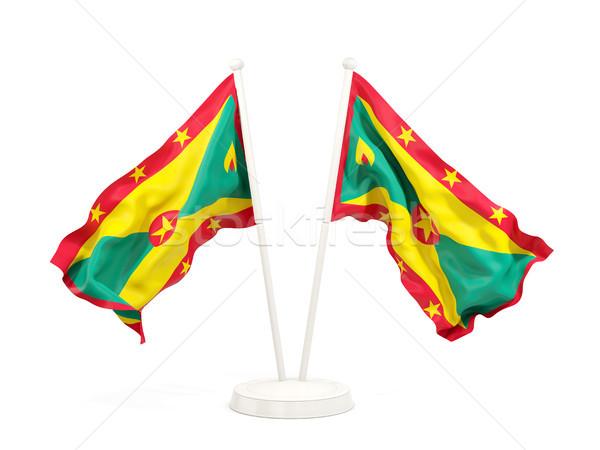 Kettő integet zászlók Grenada izolált fehér Stock fotó © MikhailMishchenko