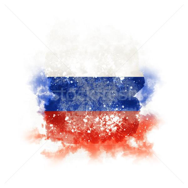 квадратный Гранж флаг Россия 3d иллюстрации ретро Сток-фото © MikhailMishchenko