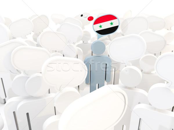 Man vlag Syrië menigte 3d illustration teken Stockfoto © MikhailMishchenko