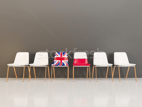 Chairs with flag of United Kingdom and poland Stock photo © MikhailMishchenko