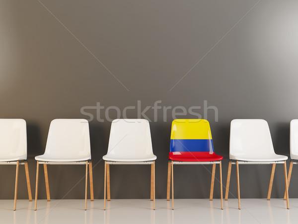 Szék zászló Colombia csetepaté fehér székek Stock fotó © MikhailMishchenko