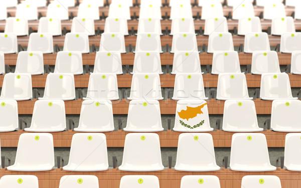 スタジアム 座席 フラグ キプロス 白 ストックフォト © MikhailMishchenko