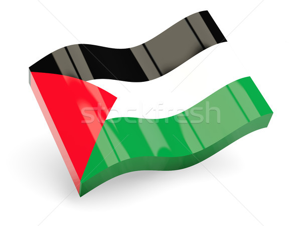 Stock photo: 3d flag of palestinian territory