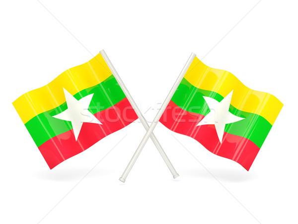 Zászló Myanmar hullám fehér szalag Hongkong Stock fotó © MikhailMishchenko