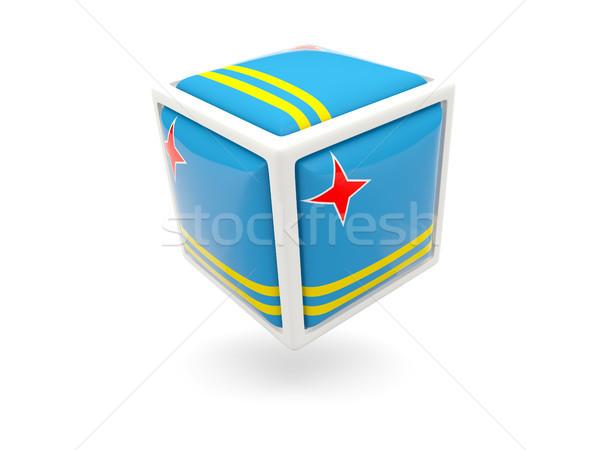 Stock fotó: Zászló · kocka · ikon · izolált · fehér
