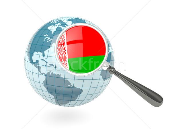 Vlag Wit-Rusland Blauw wereldbol geïsoleerd Stockfoto © MikhailMishchenko