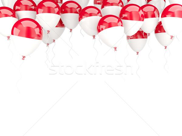 Balão quadro bandeira Mônaco isolado branco Foto stock © MikhailMishchenko