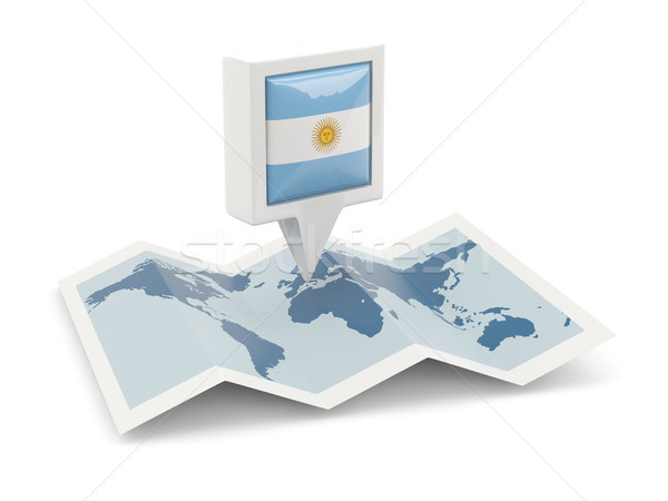 Praça pin bandeira Argentina mapa viajar Foto stock © MikhailMishchenko