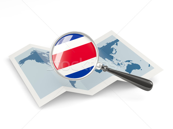 Magnified flag of costa rica with map Stock photo © MikhailMishchenko