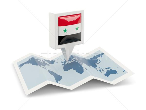 Vierkante pin vlag Syrië kaart reizen Stockfoto © MikhailMishchenko