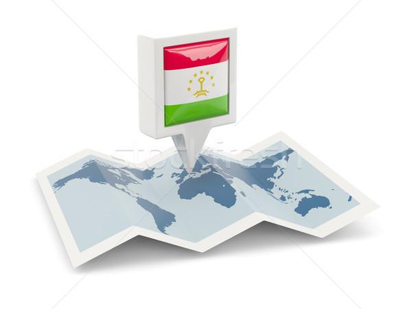 Tér tő zászló Tádzsikisztán térkép utazás Stock fotó © MikhailMishchenko
