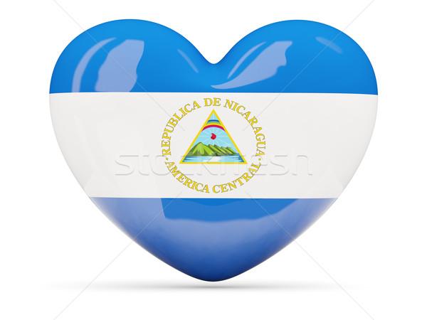 Szív alakú ikon zászló Nicaragua izolált Stock fotó © MikhailMishchenko