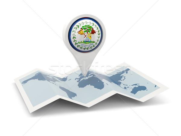 Stock fotó: Tő · zászló · Belize · térkép · utazás · fehér