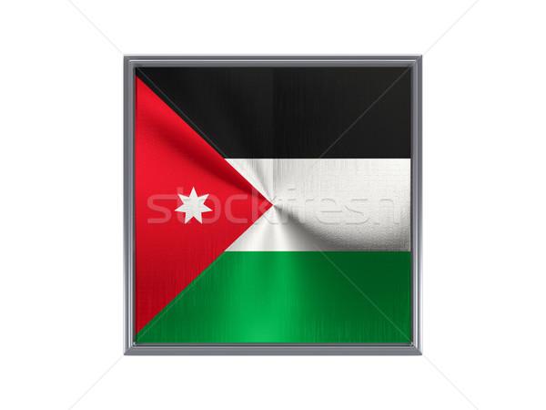 Tér fém gomb zászló Jordánia izolált Stock fotó © MikhailMishchenko